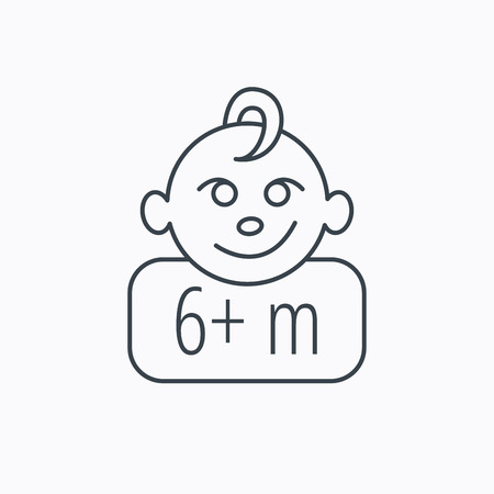 six months: Baby face icon. Newborn child sign. Use of six months and plus symbol. Linear outline icon on white background. Vector