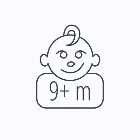 nine months: Baby face icon. Newborn child sign. Use of nine months and plus symbol. Linear outline icon on white background. Vector