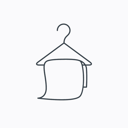 cleaning bathroom: Bath towel icon. Cleaning service sign. Bathroom hanger symbol. Linear outline icon on white background. Vector Illustration