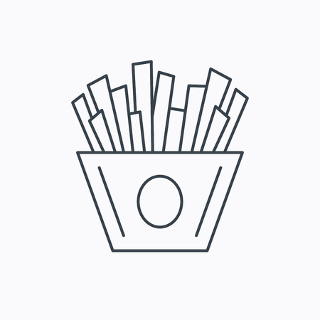 fried potatoes: Chips icon. Fries fast food sign. Fried potatoes symbol. Linear outline icon on white background. Vector