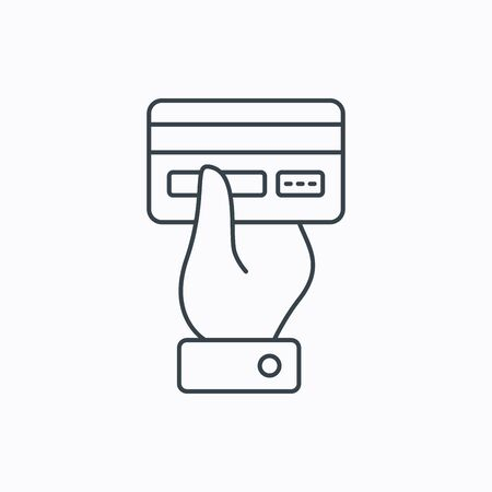 cashless: Credit card icon. Giving hand sign. Cashless paying or buying symbol. Linear outline icon on white background. Vector