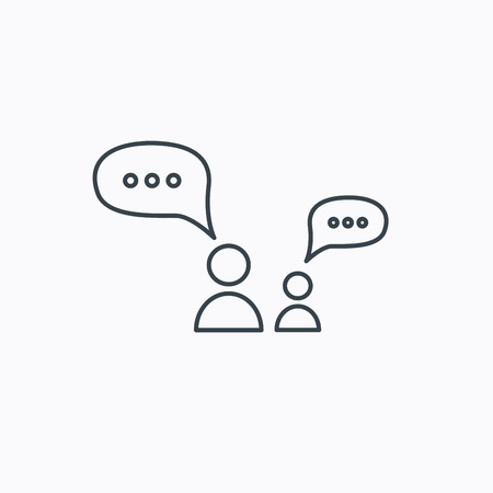 discussion: Dialog icon. Chat speech bubbles sign. Discussion messages symbol. Linear outline icon on white background. Vector
