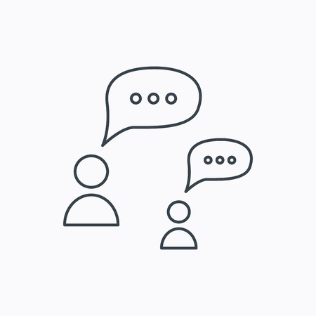 chat bubbles: Dialog icon. Chat speech bubbles sign. Discussion messages symbol. Linear outline icon on white background. Vector