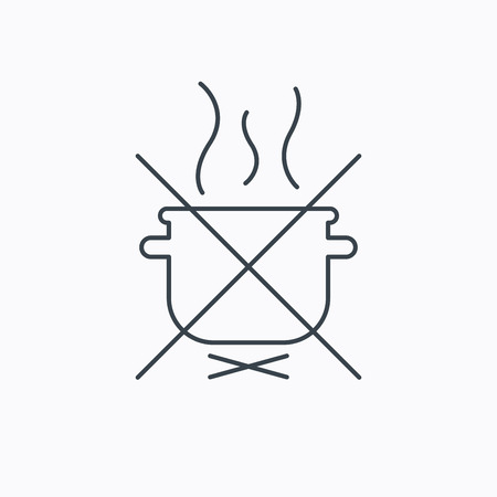 do cooking: Boiling saucepan icon. Do not boil water sign. Cooking manual attenction symbol. Linear outline icon on white background. Vector