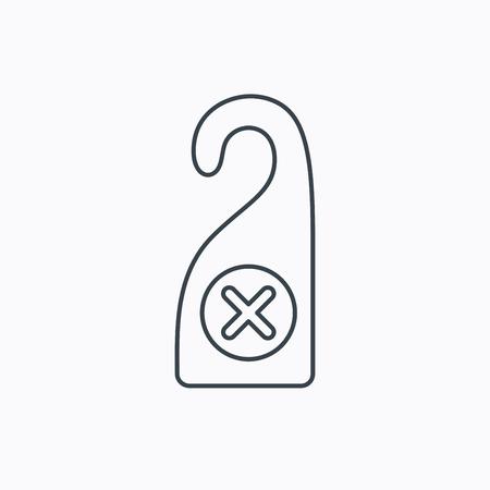 door hanger: Do not disturb icon. Sleep door hanger sign. Hotel maid service symbol. Linear outline icon on white background. Vector