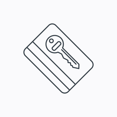 room card: Electronic key icon. Hotel room card sign. Unlock chip symbol. Linear outline icon on white background. Vector