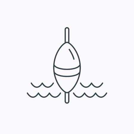 fishing float: Fishing float icon. Fisherman bobber sign. Linear outline icon on white background. Vector Illustration