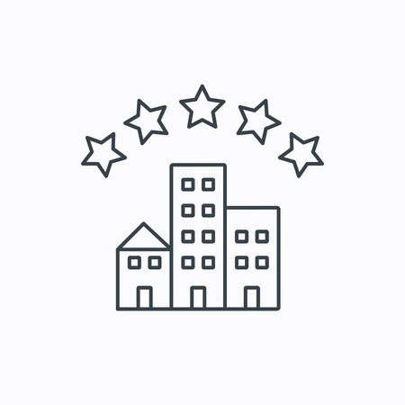 five stars: Hotel icon. Five stars service sign. Luxury resort symbol. Linear outline icon on white background. Vector