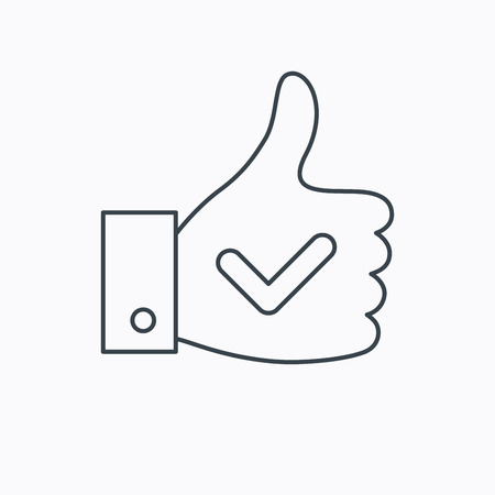 Thumb up like icon. Super cool vote sign. Social media symbol. Linear outline icon on white background. Vector
