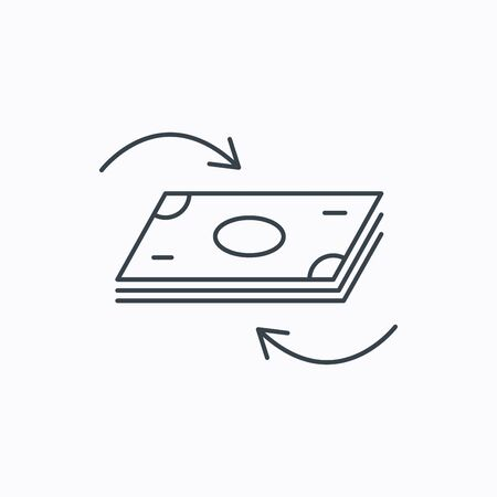 currency symbol: Money flow icon. Cash investment sign. Currency exchange symbol. Linear outline icon on white background. Vector Illustration