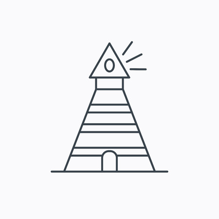 hope symbol of light: Lighthouse icon. Searchlight signal sign. Coast tower symbol. Linear outline icon on white background. Vector Illustration
