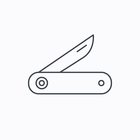 knive: Multitool knife icon. Multifunction tool sign. Hiking equipment symbol. Linear outline icon on white background. Vector