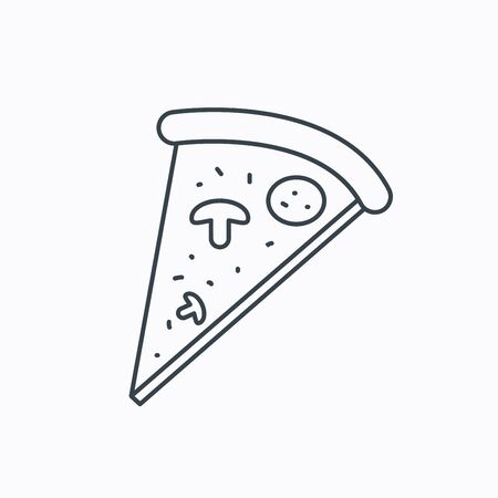 bake: Pizza icon. Piece of Italian bake sign. Linear outline icon on white background. Vector