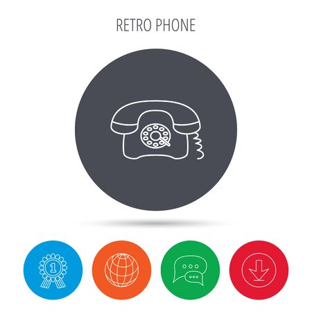 old telephone: Retro phone icon. Old telephone sign. Globe, download and speech bubble buttons. Winner award symbol. Vector Illustration