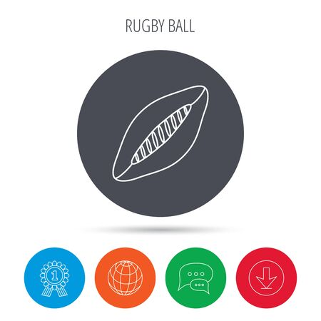 american downloads: Rugby ball icon. American football sign. Globe, download and speech bubble buttons. Winner award symbol. Vector Illustration