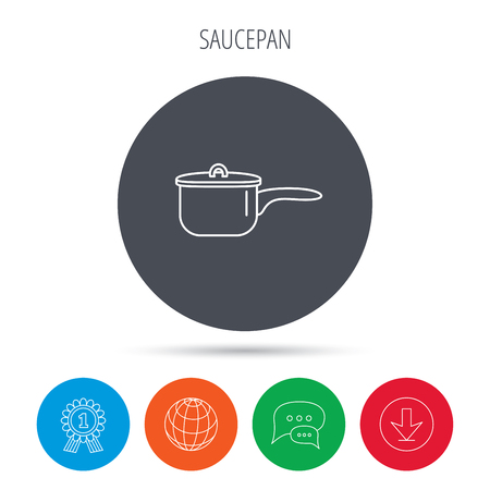 Saucepan icon. Cooking pot or pan sign. Globe, download and speech bubble buttons. Winner award symbol. Vector