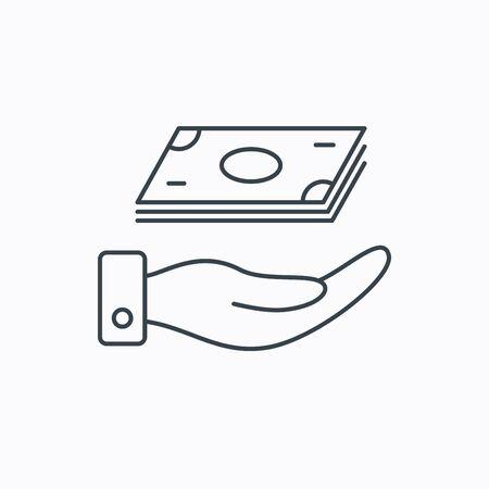 efectivo: Guarde el icono de dinero. Mano con la muestra de dinero en efectivo. Inversi�n o ahorro s�mbolo. Icono del contorno lineal sobre fondo blanco. Vector
