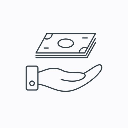 cash: Save money icon. Hand with cash sign. Investment or savings symbol. Linear outline icon on white background. Vector Illustration