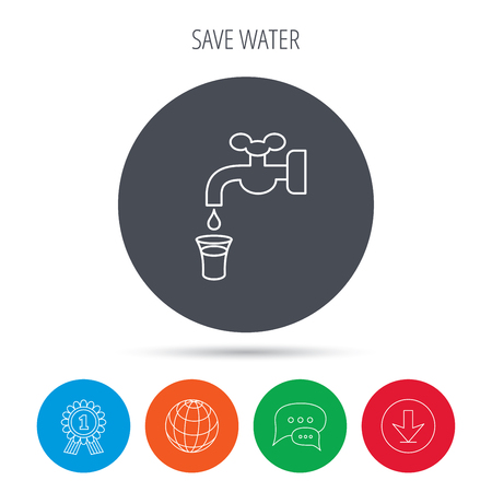 waterworks: Save water icon. Crane or Faucet with drop sign. Globe, download and speech bubble buttons. Winner award symbol. Vector