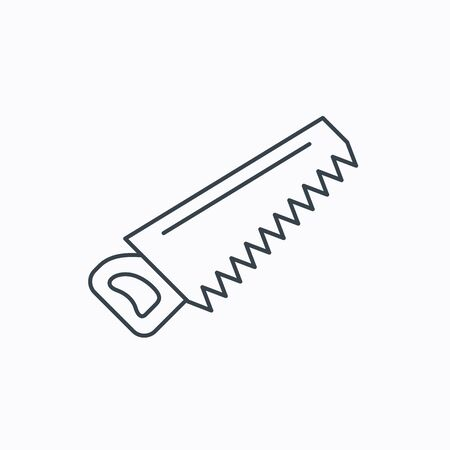 crosscut: Saw icon. Carpentry equipment sign. Hacksaw symbol. Linear outline icon on white background. Vector