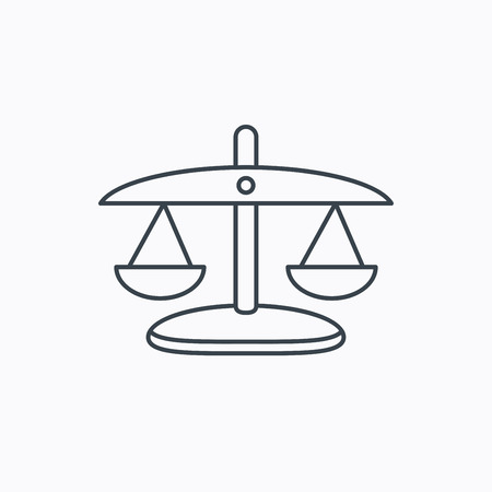 equilibrium: Scales of Justice icon. Law and judge sign. Measurement tool symbol. Linear outline icon on white background. Vector
