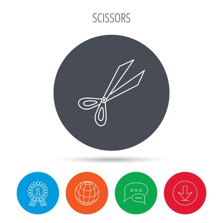 secateurs: Gardening scissors icon. Secateurs tool sign symbol. Globe, download and speech bubble buttons. Winner award symbol. Vector