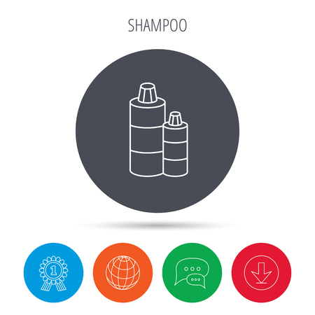 shampoo bottles: Shampoo bottles icon. Liquid soap sign. Globe, download and speech bubble buttons. Winner award symbol. Vector Illustration