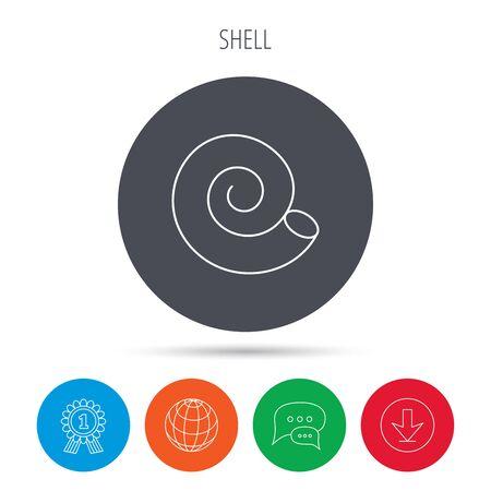 mollusk: Sea shell icon. Spiral seashell sign. Mollusk shell symbol. Globe, download and speech bubble buttons. Winner award symbol. Vector