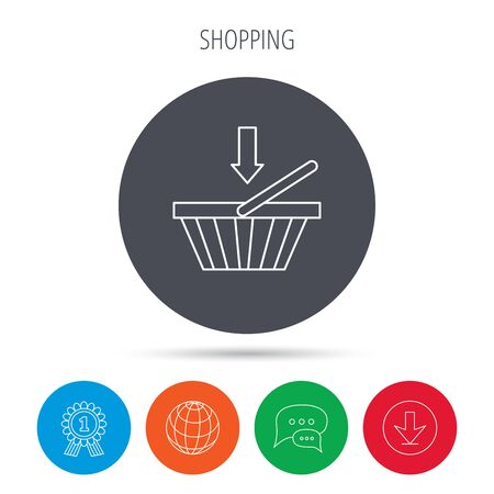 dealings: Shopping cart icon. Online buying sign. Globe, download and speech bubble buttons. Winner award symbol. Vector