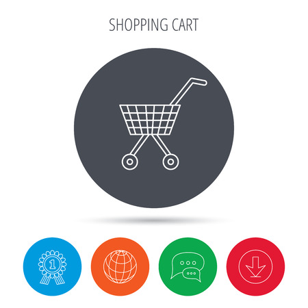 affiliation: Shopping cart icon. Market buying sign. Globe, download and speech bubble buttons. Winner award symbol. Vector