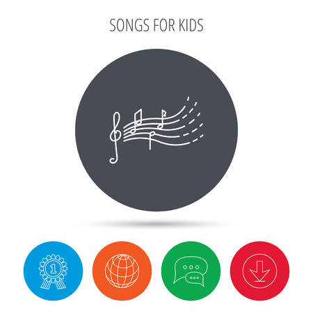 songs: Songs for kids icon. Musical notes, melody sign. G-clef symbol. Globe, download and speech bubble buttons. Winner award symbol. Vector