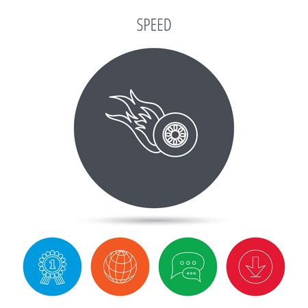 race winner: Burning wheel icon. Speed or Race sign. Globe, download and speech bubble buttons. Winner award symbol. Vector