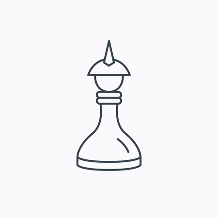 king master: Strategy icon. Chess queen or king sign. Mind game symbol. Linear outline icon on white background. Vector