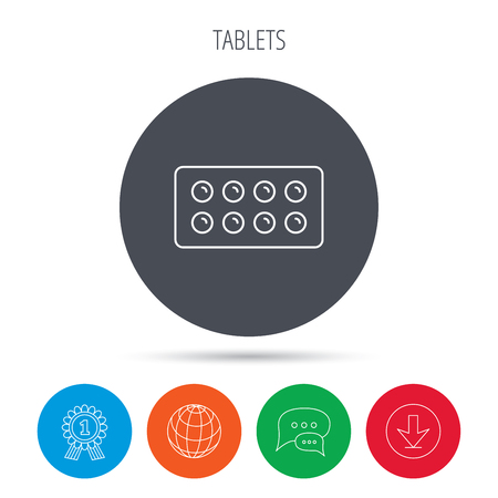 painkiller: Tablets icon. Medical pills sign. Painkiller drugs symbol. Globe, download and speech bubble buttons. Winner award symbol. Vector