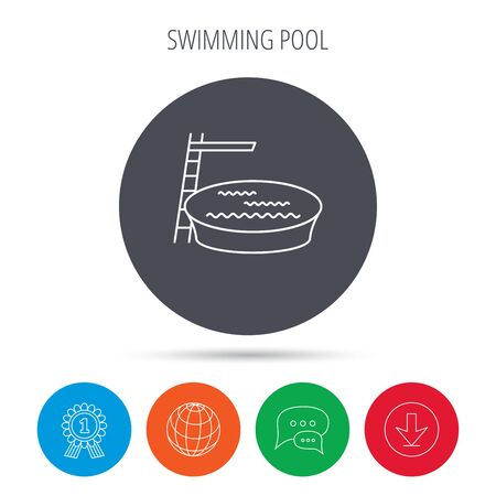 jumping into water: Swimming pool icon. Jumping into water sign. Globe, download and speech bubble buttons. Winner award symbol. Vector
