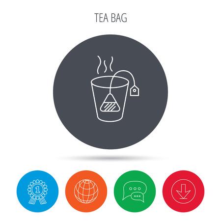 ceylon: Tea bag icon. Natural hot drink sign. Breakfast beverage symbol. Globe, download and speech bubble buttons. Winner award symbol. Vector