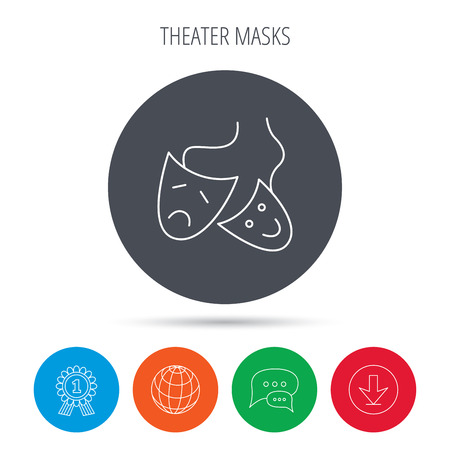theater masks: Theater masks icon. Drama and comedy sign. Masquerade or carnival symbol. Globe, download and speech bubble buttons. Winner award symbol. Vector