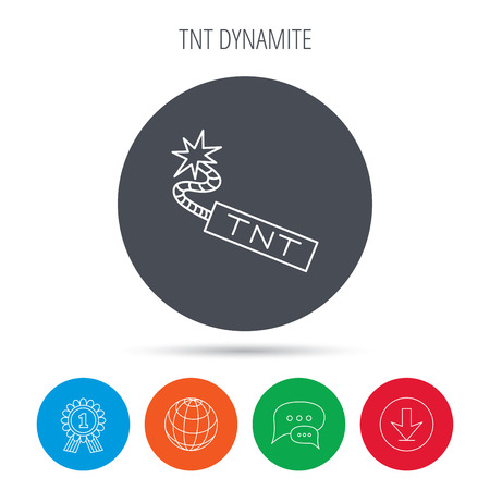 tnt: TNT dynamite icon. Bomb explosion sign. Globe, download and speech bubble buttons. Winner award symbol. Vector Illustration