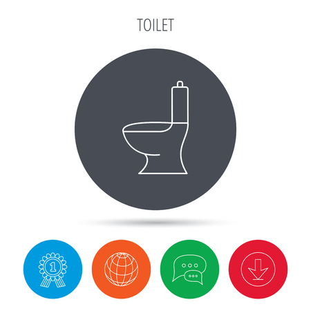 wc sign: Toilet icon. Public WC sign. Globe, download and speech bubble buttons. Winner award symbol. Vector Illustration