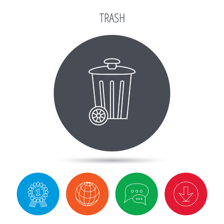 trash container: Recycle bin icon. Trash container sign. Street rubbish symbol. Globe, download and speech bubble buttons. Winner award symbol. Vector