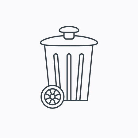 trash container: Recycle bin icon. Trash container sign. Street rubbish symbol. Linear outline icon on white background. Vector