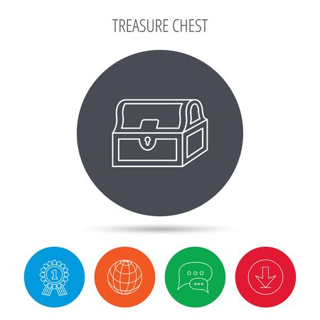 treasury: Treasure chest icon. Piratic treasury sign. Wealth symbol. Globe, download and speech bubble buttons. Winner award symbol. Vector