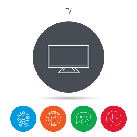 lcd display: Lcd tv icon. Led monitor sign. Widescreen display symbol. Globe, download and speech bubble buttons. Winner award symbol. Vector