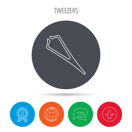 pincers: Medical tweezers icon. Cosmetic equipment sign. Globe, download and speech bubble buttons. Winner award symbol. Vector