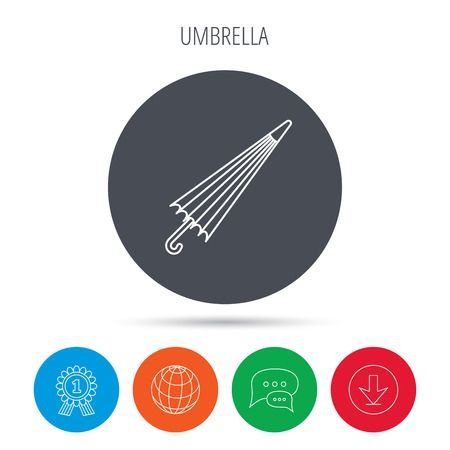 resistant: Umbrella icon. Water protection sign. Rainy weather symbol. Globe, download and speech bubble buttons. Winner award symbol. Vector