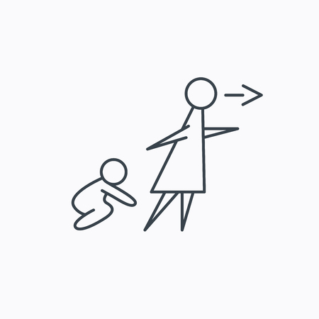 babysitting: Unattended baby icon. Babysitting care sign. Do not leave your child alone symbol. Linear outline icon on white background. Vector Illustration