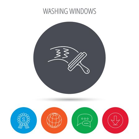 chat window: Washing windows icon. Cleaning sign. Globe, download and speech bubble buttons. Winner award symbol. Vector Illustration
