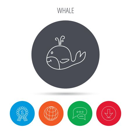 baleen: Whale icon. Largest mammal animal sign. Baleen whale with fountain symbol. Globe, download and speech bubble buttons. Winner award symbol. Vector Illustration