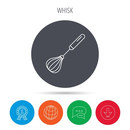 stir: Whisk icon. Kitchen tool sign. Kitchenware whisking beater symbol. Globe, download and speech bubble buttons. Winner award symbol. Vector