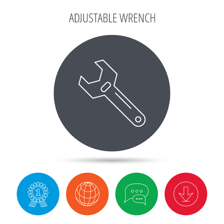 adjustable: Wrench key icon. Adjustable repair tool sign. Globe, download and speech bubble buttons. Winner award symbol. Vector